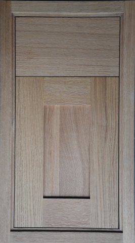 Species: Rift White Oak Edge: Stepped Inset Hinge: Concealed Inset Finish ~  Natural With Wire Brushing Flat Sheen.